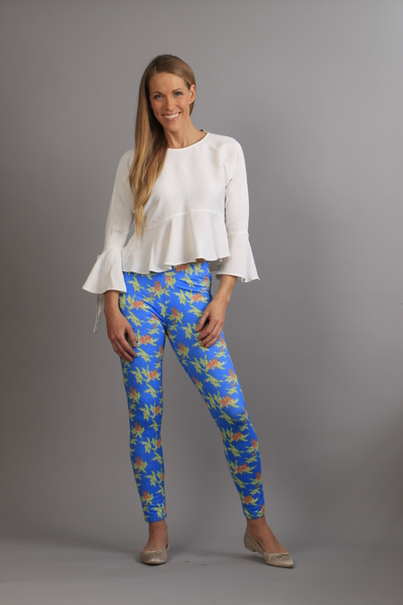 Floral Tights blue